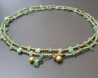 Jade  Brass  Chain Necklace