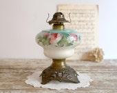 Vintage Oil Lamp, Antique Floral Oil Lamp, Vintage Kerosene Oil Lamp with Flower Design, Edwardian Decor Farmhouse Decor P & A Manufacturing
