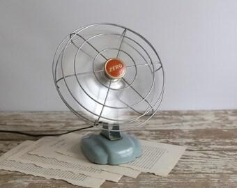 Vintage Metal Fan, Zero Metal Fan, Retro Desk Fan, Mid Century Fan, Industrial Fan Aqua Metal Farmhouse Fan, Fixer Upper