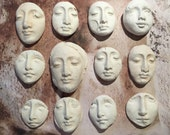 Custom listing two white clay faces no holes