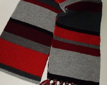 Doctor Who Seasons 12-16/17 Full & 'Mini' Sizes Black Red Grey Replica Scarf Fourth Doctor Tom Baker from Ashlee's Knits Cosplay Made2Order