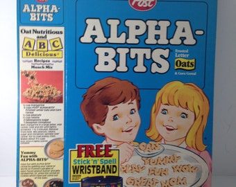 Vintage Cereal Box alpha-bits w/wristband premium
