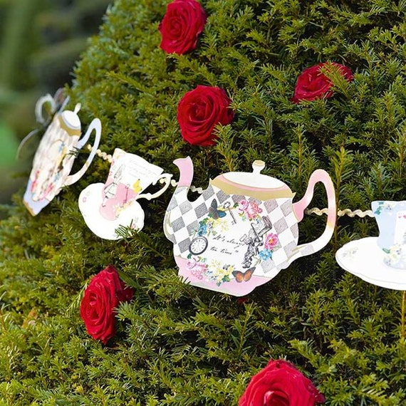 Alice in wonderland decorations alice bunting alice garland - Mad hatter tea party decoration ideas ...