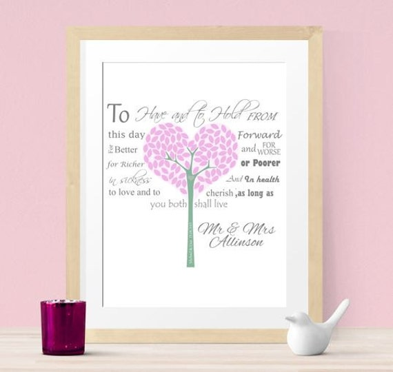 Personalised Wedding Vow Gifts : Personalized Wedding gift, wedding vow art, bride & groom, family tree ...