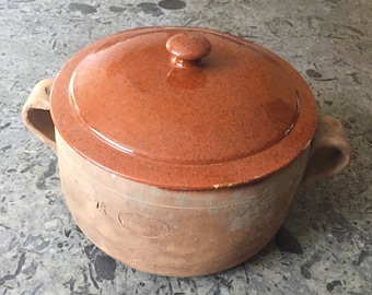 Antique French Vallauris Earthenware tureen terrine pan shabby chic kitchen vintage Provence deco terracotta