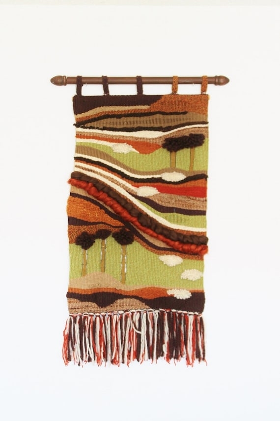 Decorative Wall Hanging Rods : Midcentury woven wall hanging textile with rod large