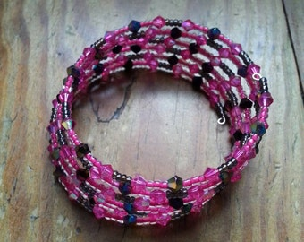 My Favorite Things Pink and Brown Beaded Bracelet