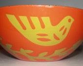"Large Hanova of Pasadena enamel ""Dove"" bowl for your consideration"