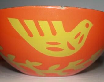 "SALE!!!  Large Hanova of Pasadena enamel ""Dove"" bowl for your consideration"