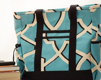 Kitchen Sink Tote, Aqua Professional Tote, Multi-purpose bag, Large Tote Bag with pockets, Diaper Bag, Travel Tote, Teacher Tote, #1012