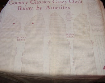 Craft Panel, Fabric Cut Destash - Country Classics Crazy Quilt Bunny by Ameritex, Pre-Printed Fabric with Instructions