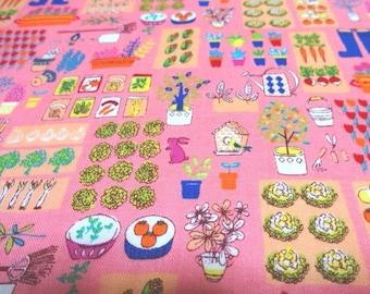 SALE Japanese Fabric Garden Pink  Fat Quarter