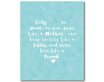 Only an aunt can give hugs... Typography Wall Art - Inspirational Quote - print - Room Decor - Gift Idea - aunt gift - family - room decor