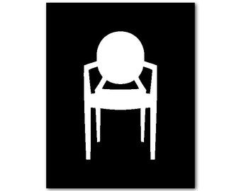 Chair Art - Modern Wall Art - Louis Ghost Chair Silhouette - Phillipe Starck - print - on your choice of background color