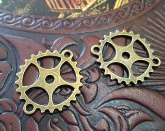 Clock Gears Connectors Watch Gears Steampunk Gears Antiqued Bronze Wholesale Charms Bulk Gears 50 pieces