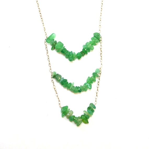 Green Aventurine Triple Chevron Necklace