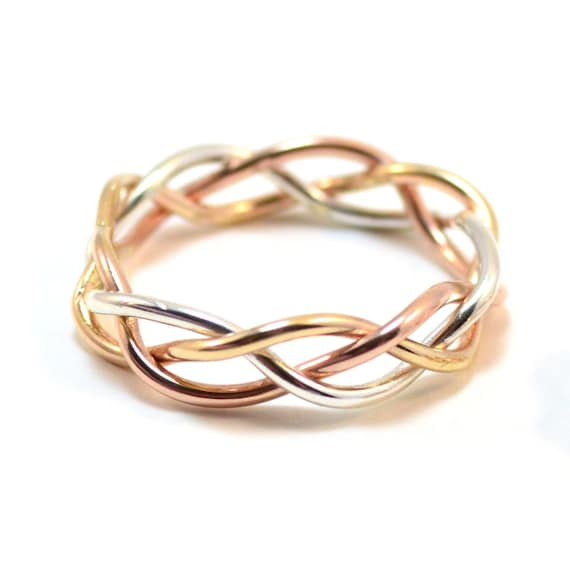 Men's Tri Color Braided Ring - Gold, Rose Gold, Silver - 6 mm Wide Braid.