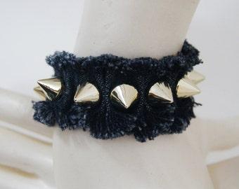 FREE Shipping Gold Spiked  Ruff Edged Denim Blue Jean Bracelet, Denim Bracelet Cuff , Recycled Blue Jean Bracelet,