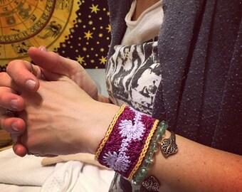 Crochet Cuff Bracelet-Egyptian Cotton Thread-boho-hippie-Jewlery