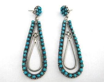 Outstanding Vintage ZUNI Sterling Silver & Turquoise Petit Point Hoop Earrings
