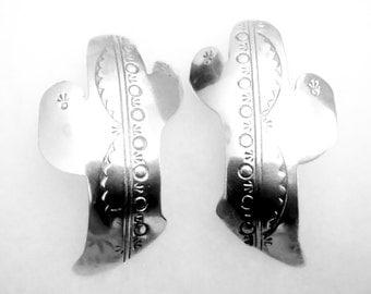 Large Vintage Southwest Sterling Silver Cactus Earrings MUST SEE