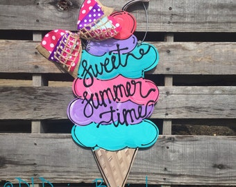 summer ice cream cone door hanger with sweet summer time hand lettered