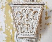 ON SALE Vintage 1964 Cottage Chic Gold and White Plastic Wall Sconce, Oxford Plastics Inc. Lighting, Shabby Chic, Fleur De Lis, Coach Lanter
