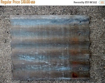 "ON SALE Weathered Corrugated Tin 14 3/4"" X 17 3/4"" Rusty Galvanised Tin, Barn Tin, Supplies"