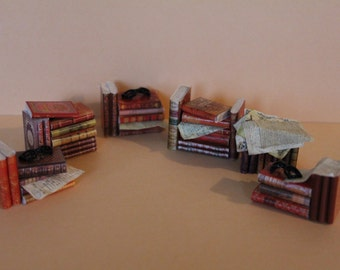 Dollhouse miniature red books stack