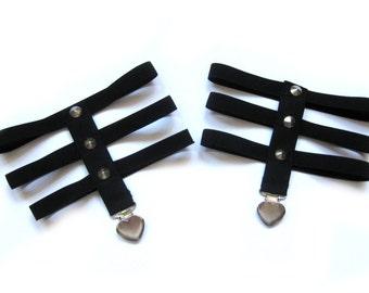 1 pair Sock garter skeleton harness hearts