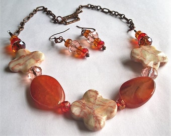 Necklace and Earring Set: Alabaster and Dyed Agate w/Light Pink, Orange, and Golden Yellow Crystal Beads with a Toggle Clasp