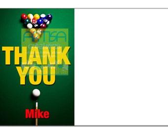 Billiard Thank You Card, Billiard Note Card, Pool Thank you card, Billiard note card DIY