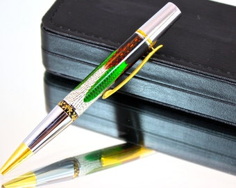 Hand Made Ballpoint Pen, Green Macaw Feathers In Gold And Rhodium