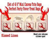 "Lobster Crab Nautical Crustacians Sea Ocean Party Favor Treat Gift Bags Small Mini 6"" White Canvas Mini Totes Kids Children Bags - Set of 4"