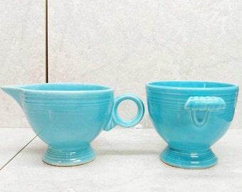 Fiesta Ware Creamer and Sugar Bowl Turquoise Blue Fiesta Ware Stoneware Homer Laughlin Pre 1986 Original