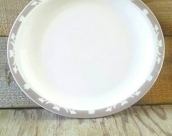 """Syracuse China Restaurant Ware Airbrushed Plate Oval Platter Ivory and Tan Atomic Shadowtone Nutmeg 12"""" Serving Plate"""