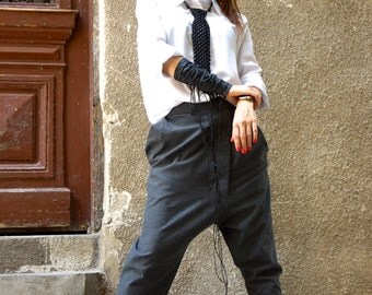 NEW Collection Charcoal  Drop Crotch  Pants / Extravagant Dark Grey  Trousers /Asymmetrical Pants  with pockets by AAKASHA A05461