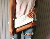 Gray Cheetah Leather Fold Over Clutch