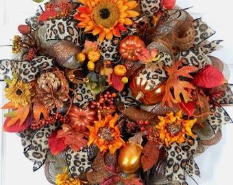 Fall Wreath, Deco Mesh Wreath, Sunflower Wreath, Wreath w Pumpkins, Copper Orange Wreath, Thanksgiving Wreath, Door Wreath, Leopard Ribbon