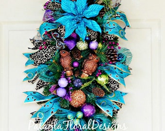 Christmas Peacock Verticle Swag, Christmas Owl Wreath, Holiday Wreath, Leopard or Cheetah, Peacock Feathers, Peacock Blue, Front Door Wreath