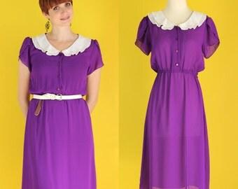 Vintage 80s Sheer Purple Dress - Peter Pan Collar Shirt Dress - Ruffle Dress - Flutter Sleeve Dress - Girly Dolly Dress - Size Small / Med