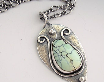 Turquoise Necklace, Handmade Silver Necklace, Teardrop Necklace, Light Green, Oxidized Necklace, Rustic Necklace, 18 inch