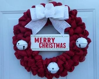 Christmas burlap wreath, red burlap Christmas wreath, Holiday wreath, Jingle bell wreath, Holiday decor, Christmas decor, Ready to ship