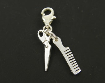 Silver Comb Scissors Charm with Clasp for Bracelet Necklace diy Jewelry Component Gift for Barber Hairdresser Stylist Beautician |S24-13|1