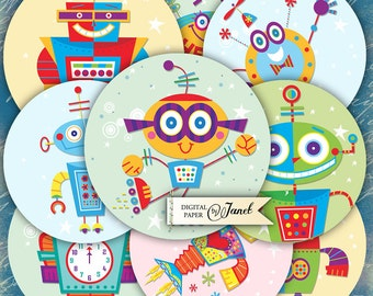 Robot - 2.5 inch circles - set of 12 - digital collage sheet - pocket mirrors, tags, scrapbooking, cupcake toppers