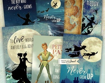Peter Pan - tags - digital collage sheet - set of 8 - Printable Download