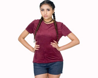 Burgundy Suede T-Shirt Textured Tops Short Sleeves