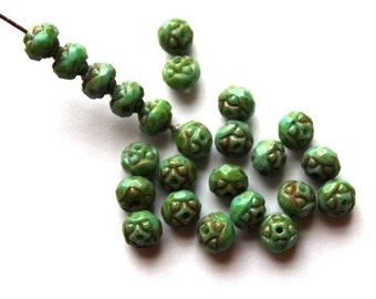 25 Turquoise Picasso Faceted Rosebud Beads
