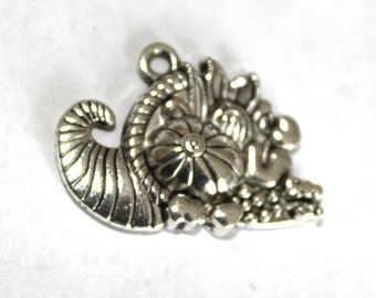 5 Antique Silver Cornucopia Charms/Pendants
