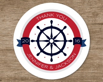 Personalized Labels, Nautical Thank You, Round in Multiple Sizes